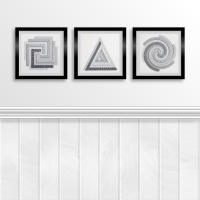Set of three monochrome spirals circle, square and triangle paper stitching embroidery pattern prints to frame.