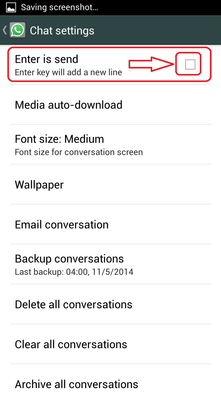 Social Media Help: Use the Enter key to send WhatsApp messages