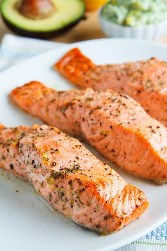 Greek Style Salmon with Avocado Tzatziki