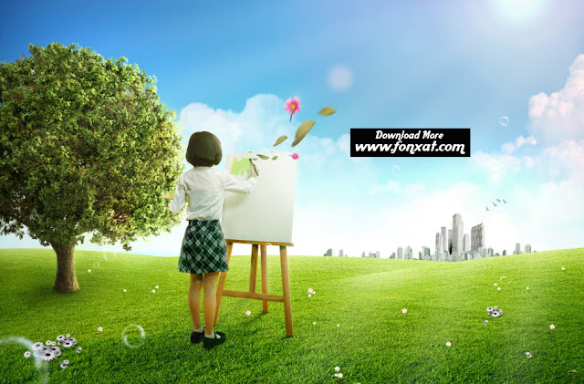 FREE PSD download : Girl paint a design on the plate