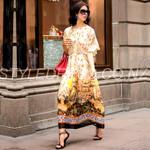 Elegant Quality Scoop Floral Gisborne Printing Short Sleeves Long Maxi Dress -Special price: NZD $ 116.11