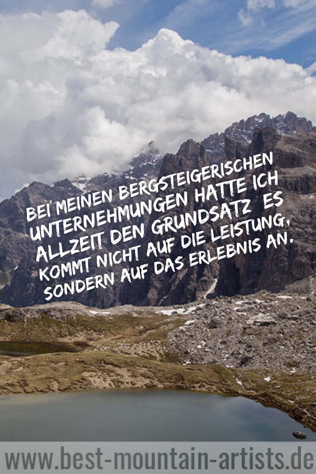 """wander-zitate """"Bei meinen bergsteigerischen Unternehmungen hatte ich allzeit den Grundsatz: es kommt nicht auf die Leistung, sondern auf das Erlebnis an."""", Anderl Heckmair"""
