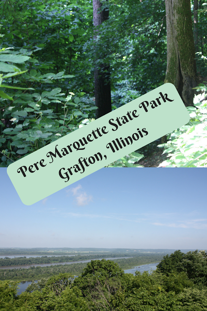 Hiking and enjoying views of the Illinois River at Pere Marquette State Park in Grafton, Illinois