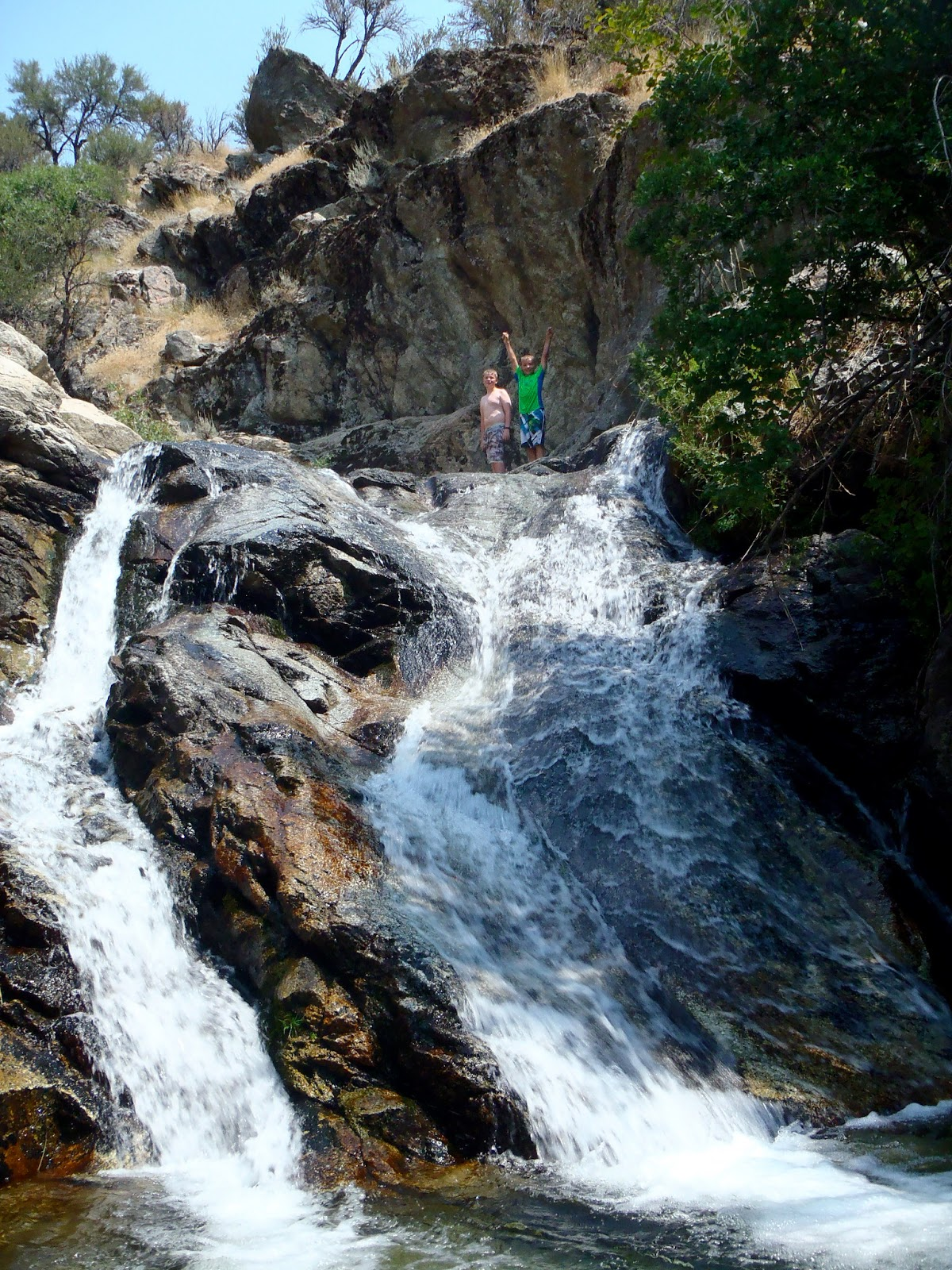 water natural slide alpine hike trail