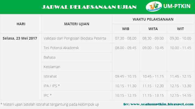 Jadwal Ujian UM-PTKIN