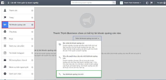Cách tạo tài khoản quảng cáo Facebook Business