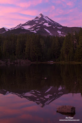 Mount Jefferson reflected in Shale Lake after sunset, Pacific Crest Trail, Mount Jefferson Wilderness, Willamette National Forest, Cascade Range, Oregon, USA.