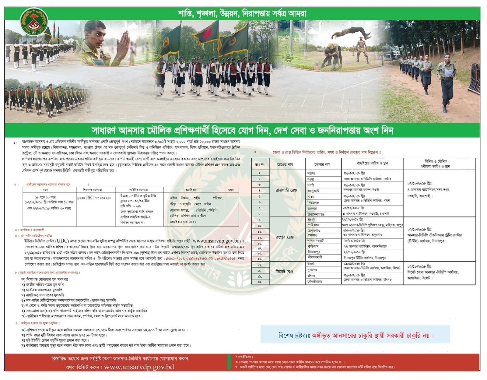 Bangladesh Ansar VDP Recruitment Circular 2018