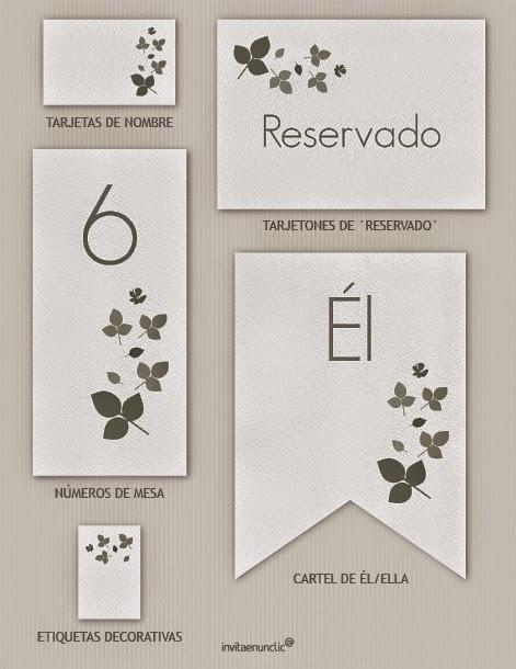 Colección de imprimibles Hojas para boda ~ Mi fiesta inolvidable