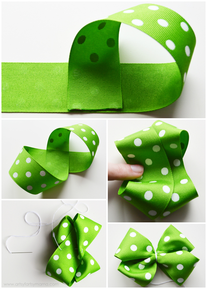 St. Patrick's Day Bottle Cap Hair Bow Tutorial at artsyfartsymama.com