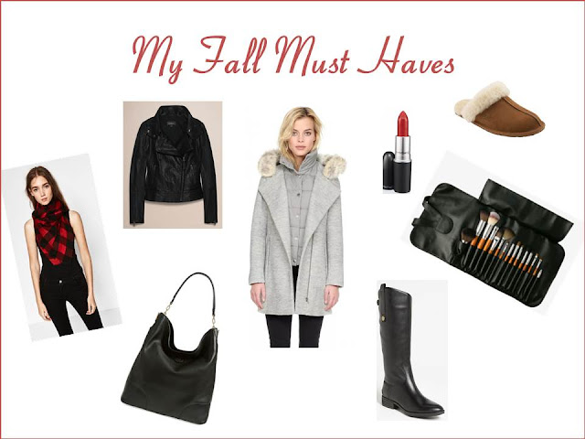 My Fall Must Haves - boots, scarf, slippers, leather jacket, tory burch purse, red lipstick, makeup brushes