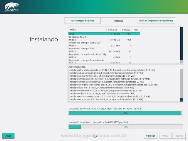 Detalhes do processo de instalação do openSUSE Leap 42.2