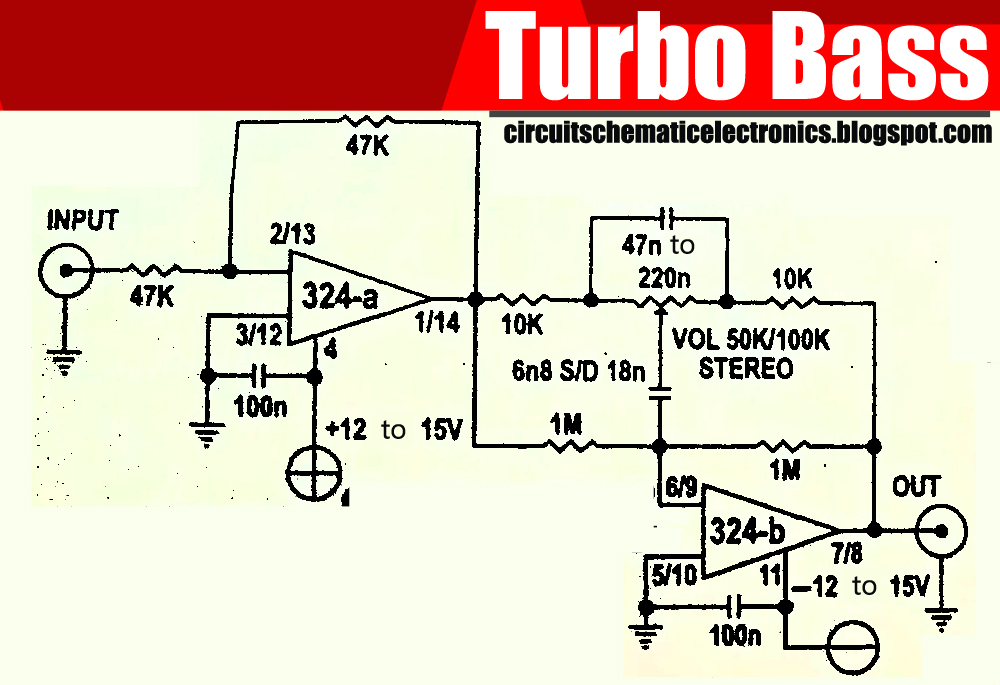 turbo bass with ic lm324 electronic circuit rh elcircuit com Car Booster Circuit Speaker Booster Circuit