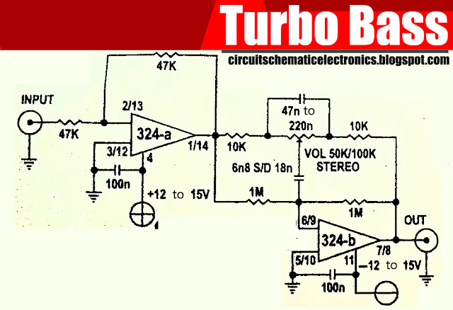 Circuit Diagram of Turbo Bass with IC LM324