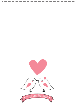 tarjeta Feliz San Valentín con pollitos y corazon