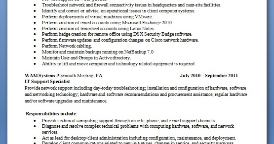 computer hardware and networking resume format professional