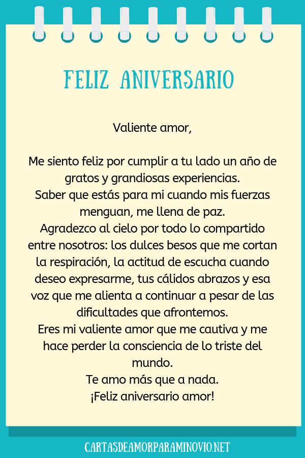 Carta de amor para mi novio en nuestro aniversario - Feliz aniversario