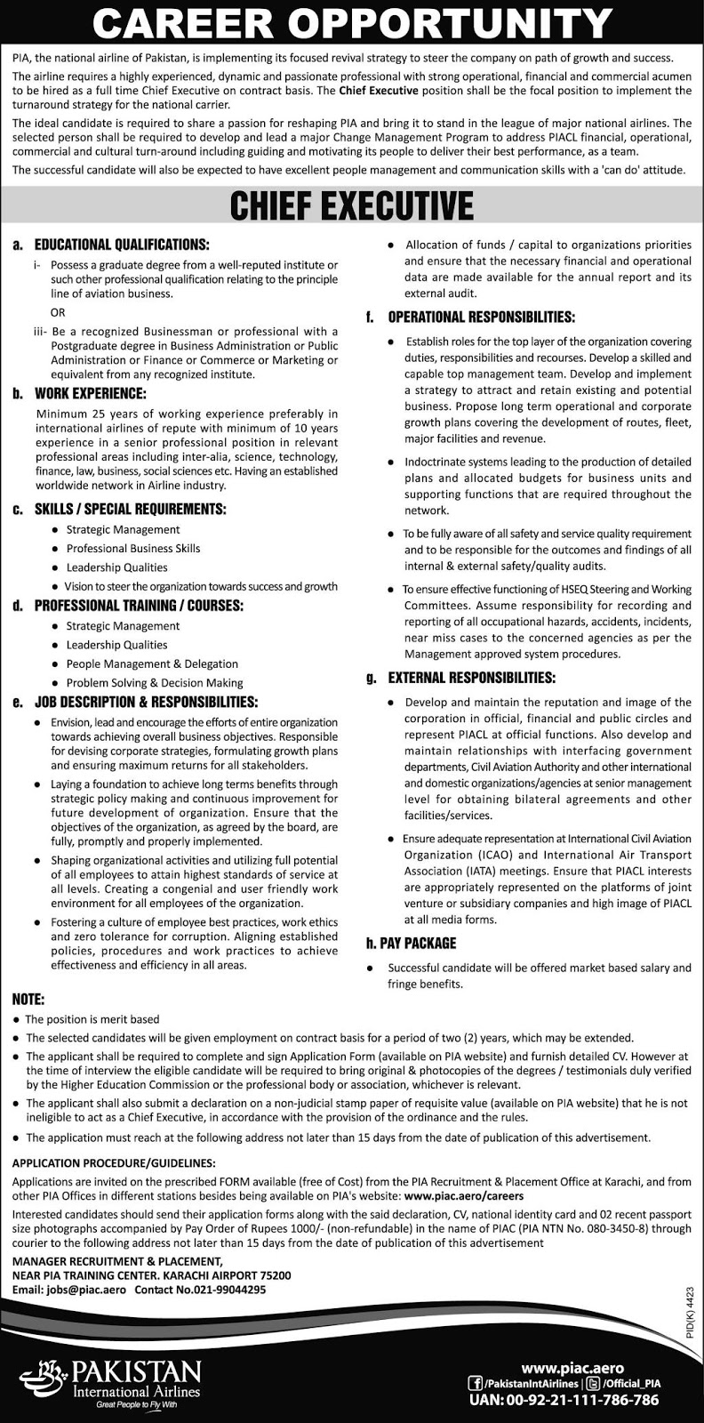 Chief Executive Jobs In PIA Pakistan International Airlines Karachi 20 May 2017