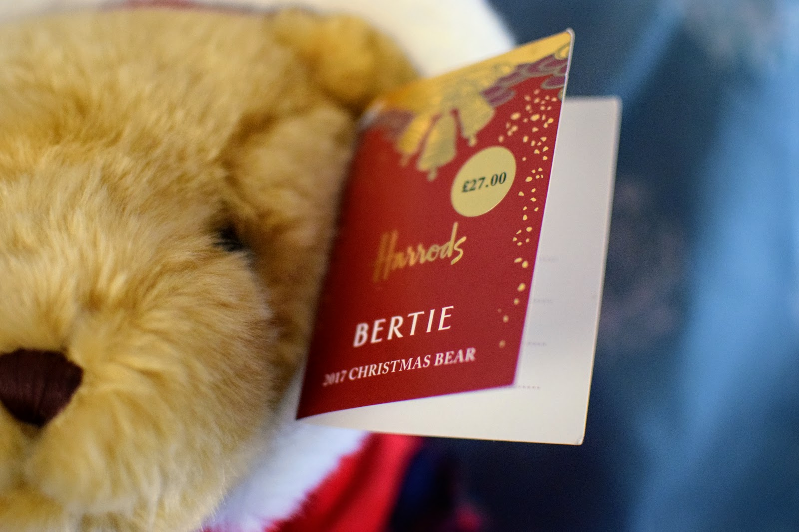 , Harrods Bertie Christmas Bear 2017 and Giving this Christmas