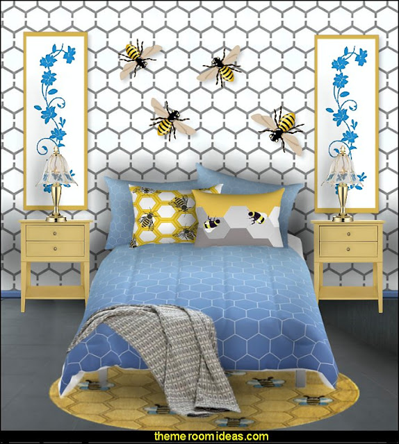 beeive bue yellow bedding bedroom  bumble bee bedrooms - Bumble bee decor - Honey bee decor - decorating bumble bee home decor - Bumble Bee themed nursery - bee wallpaper mural decals - Honeycomb Stencil - hexagonal stencils - bees in springtime garden bedroom -  bee themed nursery - black yellow bedroom ideas - Hexagon pattern -