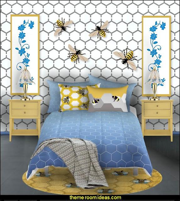 beeive bue yellow bedding bedroom  bumble bee bedrooms - Bumble bee decor - Honey bee decor - decorating bumble bee home decor - Bumble Bee themed nursery - bee wallpaper mural decals - Honeycomb Stencil - hexagonal stencils - bees in springtime garden bedroom -  bee themed nursery - black yellow bedroom ideas - Hexagon pattern -
