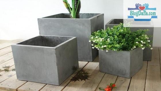 Jenis pot tanaman berbahan semen dan karakternya