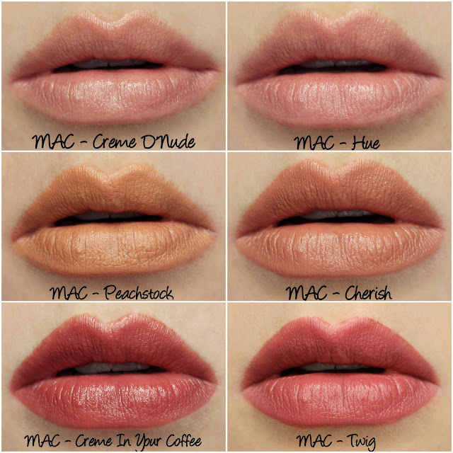 MAC Creme D'Nude, Hue, Peachstock, Cherish, Creme In Your Coffee, Twig Lipsticks Swatches & Review