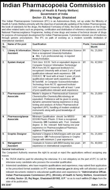 indian pharmacopoeia commission,pharmacopoeia,indian goverment job,indian government job of