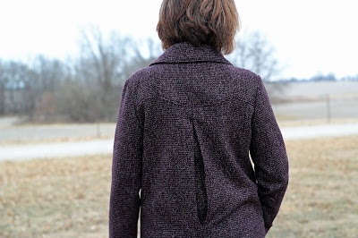 McCall's 7694 moto jacket made from Mood Fabrics' wool tweed - back view