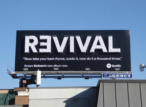 Eminem Revival album Spotify 3D billboard