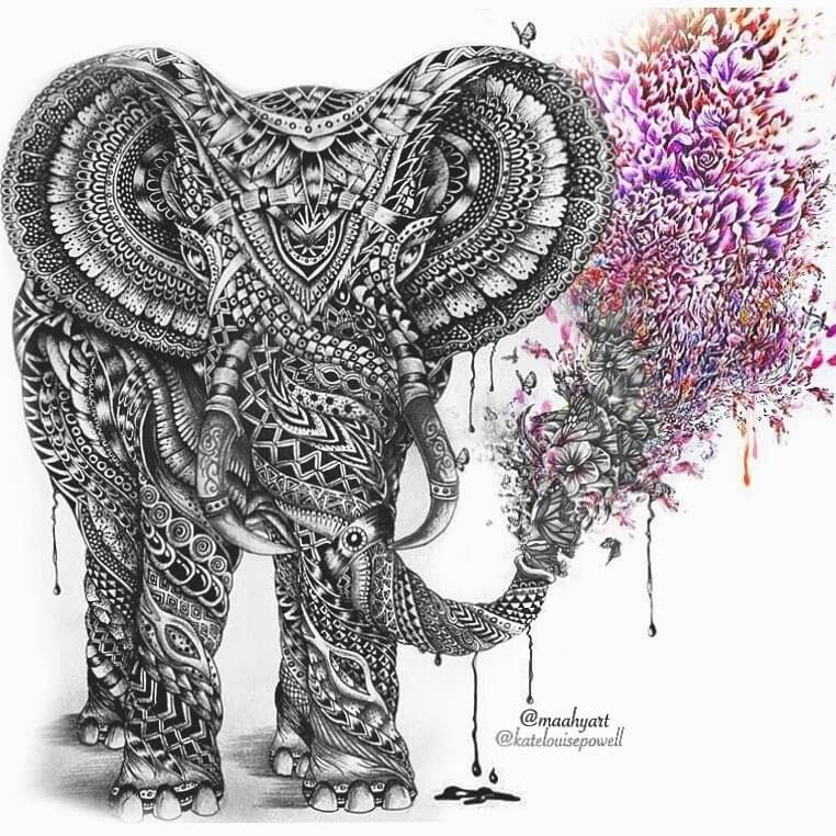 01-Elephant-Exhaling-Dreams-Maahy-Drawings-Given-the-Zentangle-Treatment-www-designstack-co