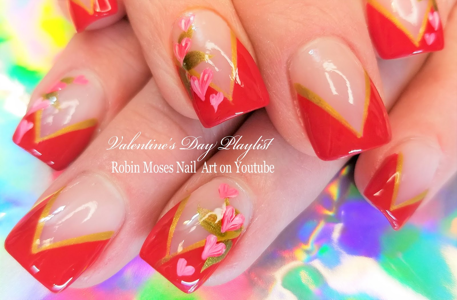 Nail Art By Robin Moses Easy Valentine Nails Romantic Pink Heart