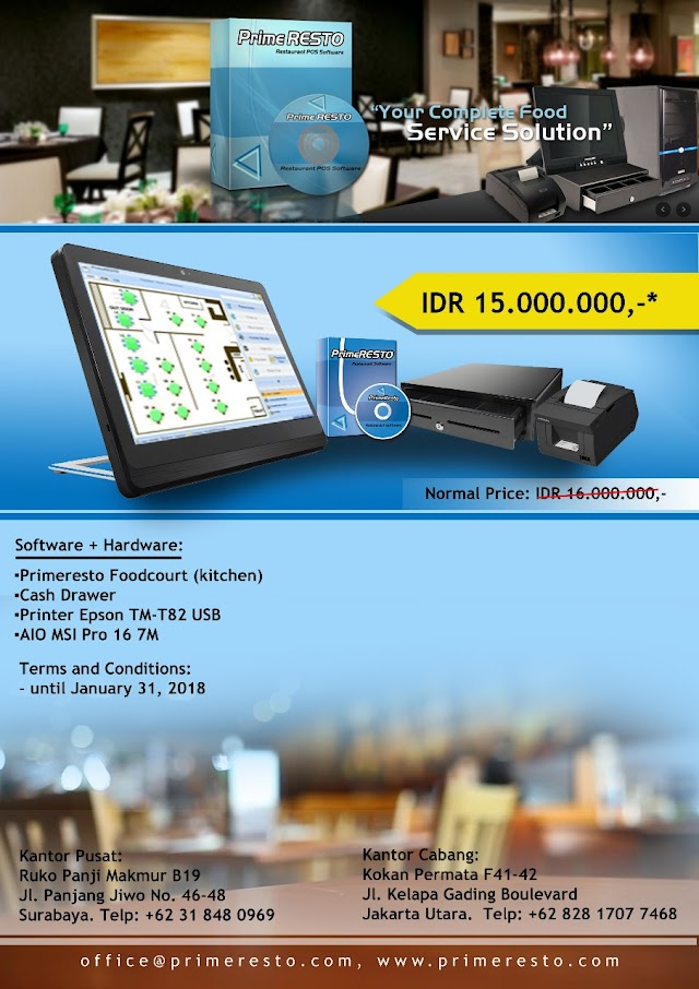 "Promo Software dan Hardware Prime Resto "" Your Complete Food Services Solutions"""