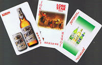 a lot of 3 liquor-related playing card jokers bought on ebay