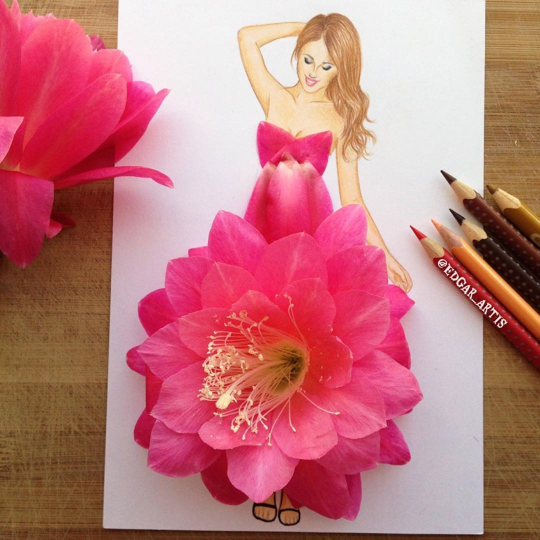 20-Cactus-Flower-Edgar-Artis-Drink-Food-Art-Dresses-and-Gowns-Drawings-www-designstack-co