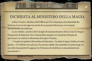 L2C12M3: articolo della Gazzetta del Profeta sui provvedimenti contro Arthur Weasley