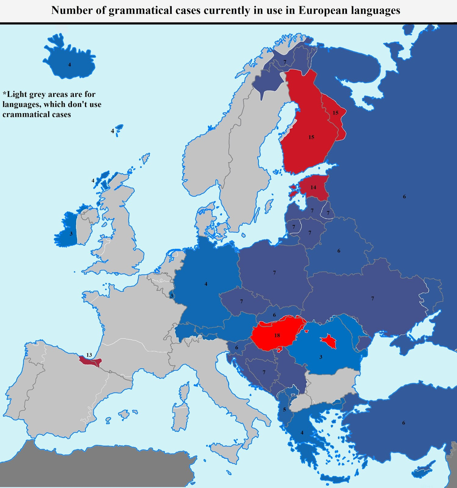Number of grammatical cases currently in use in European languages