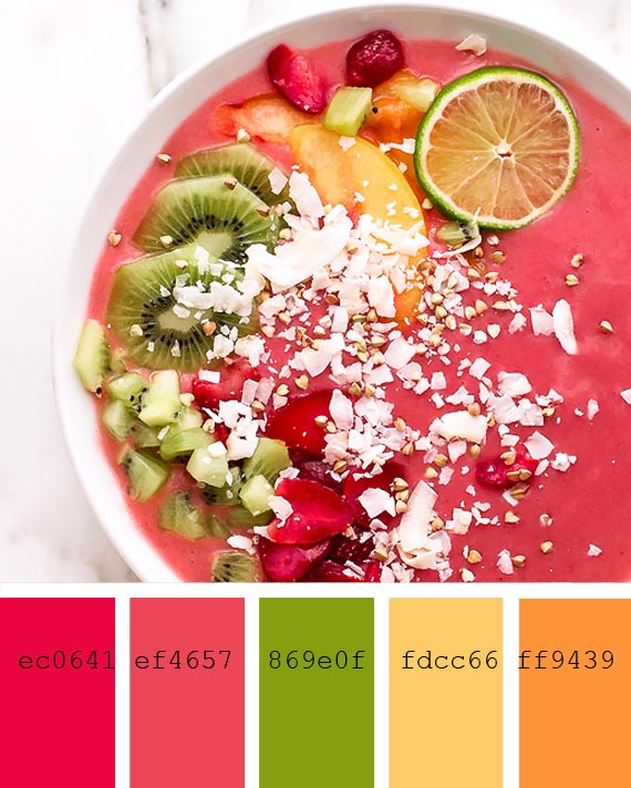 strawberry and ginger smoothie recipe and color palette