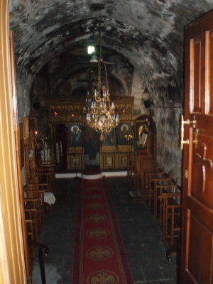 The church of Saint Fanourios Rhodes.   The icon of St. Fanourios was found at the front, right corner on the right next to St. john the Baptist. It is only slightly visible.