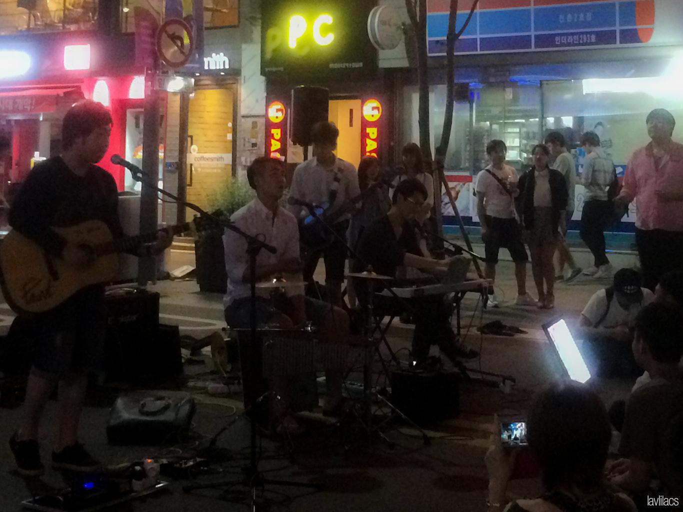 Seoul, Korea - Summer Study Abroad 2014 - Sinchon Street music at night