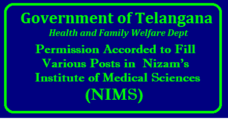 Telangana to fill vacant posts in NIMS Of the total posts, 150 are staff nurse, 41 senior residents, 28 assistant professors, 15 associate professors and 14 professors among other posts. The State government has accorded permission for filling up 399 vacant posts in the Nizam's Institute of Medical Sciences (NIMS). The direct recruitment of the vacant posts will be done through the departmental selection committee and accordingly the necessary orders were issued on Wednesday. Of the total posts, 150 are staff nurse, 41 senior residents, 28 assistant professors, 15 associate professors and 14 professors among other posts./2018/05/telangana-to-fill-vacant-posts-in-nims-nizams-institute-medical-sciences-recruitment-notification-apply-online.html