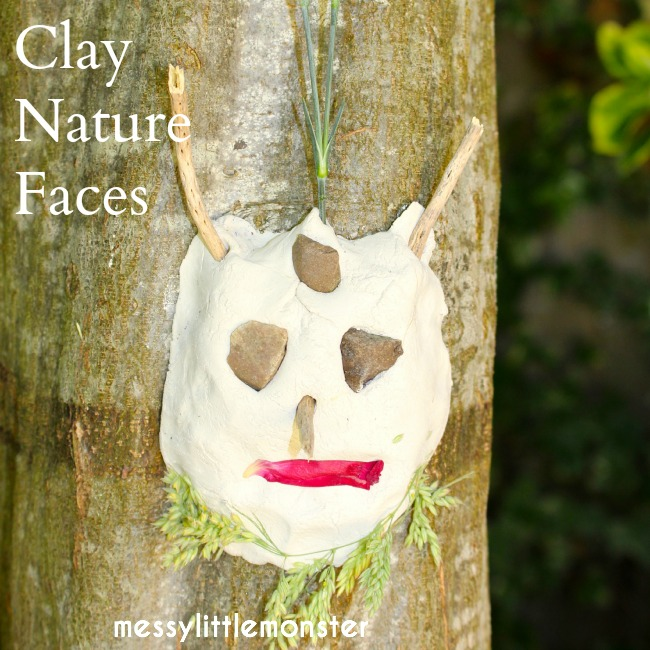 Clay nature faces on trees