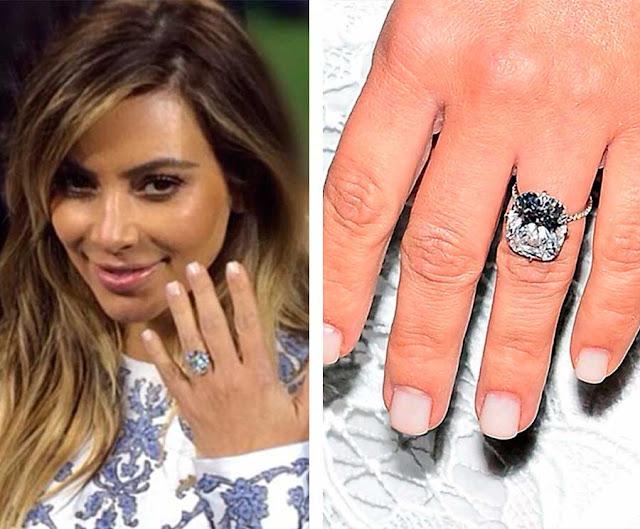 Kim Kardashian noivado com Kanye West anel diamantes