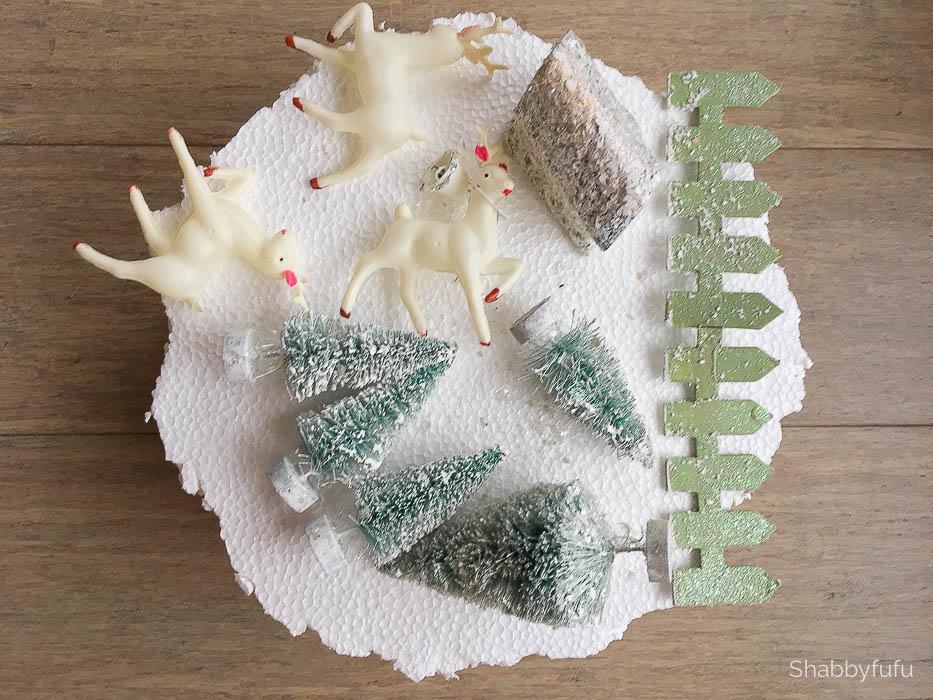 miniature bottle brush trees small figurines deer