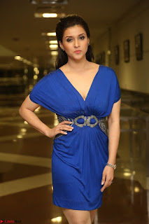 Mannara Chopra in Short Blue Dress at Rogue Movie Teaser Launch 1st March 2017 057.JPG