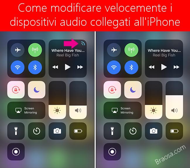 Come modificare i dispositivi audio collegati all'iPhone velocemente