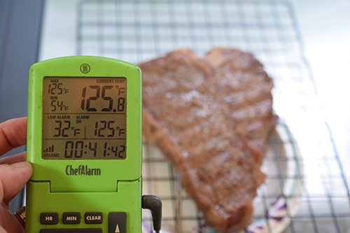 Thermoworks ChefAlarm remote probe thermometer is useful for monitoring the temperature of your food while it is grilling.
