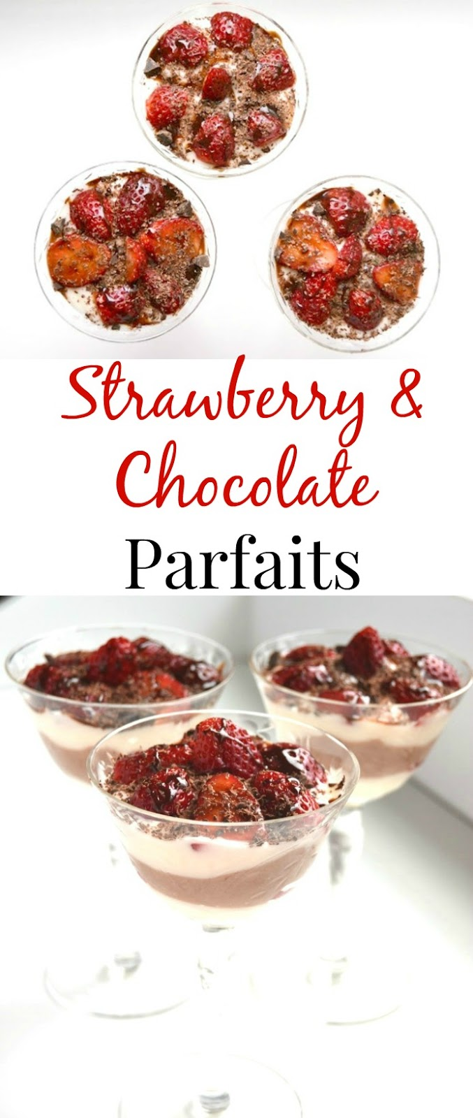 These Strawberry and Chocolate Parfaits only take 10 minutes to make and is healthier than many desserts made with yogurt, strawberries and chocolate! www.nutritionistreviews.com