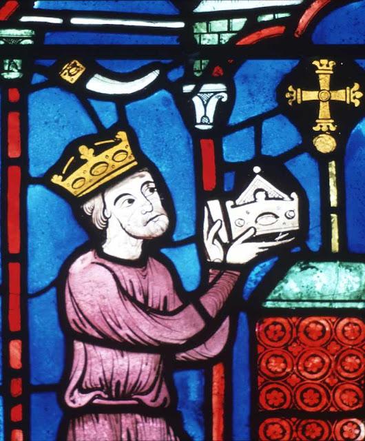 Carlos Magno faz doação à Igreja, vitral da catedral de Bourges