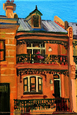 plein air oil painting of heritage terrace house Millers Point by industrial heritage artist Jane Bennett